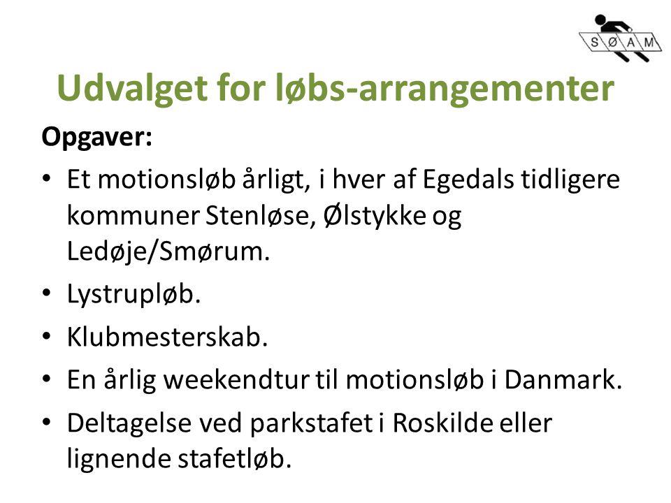 Udvalget for løbs-arrangementer Opgaver: Et motionsløb årligt, i hver af Egedals tidligere kommuner Stenløse, Ølstykke og Ledøje/Smørum.