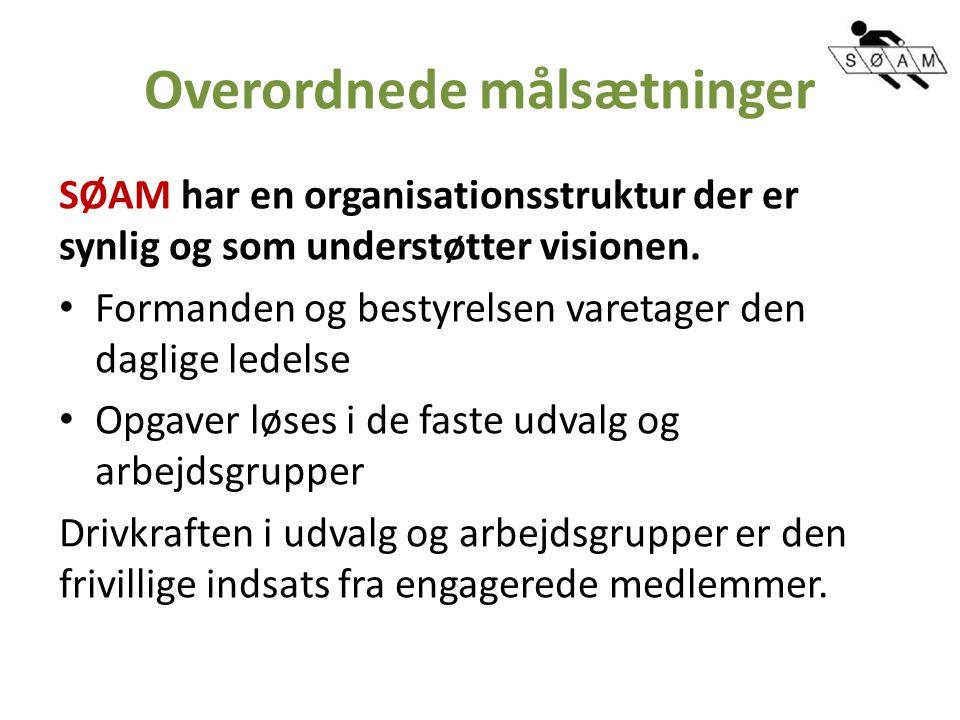 Overordnede målsætninger SØAM har en organisationsstruktur der er synlig og som understøtter visionen.