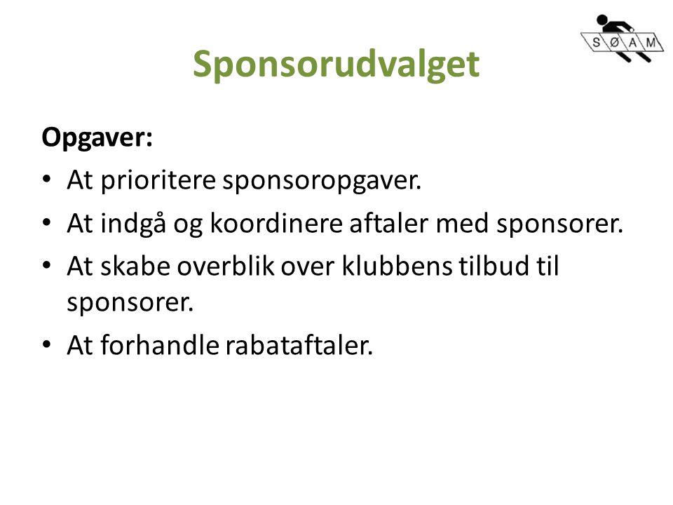 Sponsorudvalget Opgaver: At prioritere sponsoropgaver.
