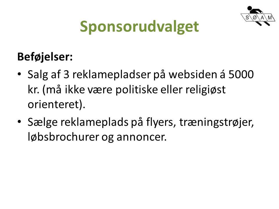Sponsorudvalget Beføjelser: Salg af 3 reklamepladser på websiden á 5000 kr.