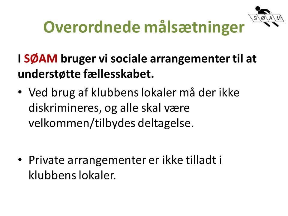 Overordnede målsætninger I SØAM bruger vi sociale arrangementer til at understøtte fællesskabet.