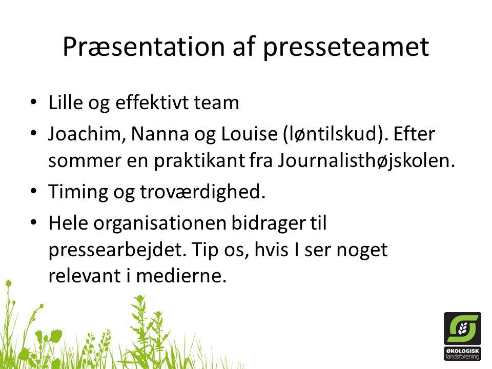 Præsentation af presseteamet Lille og effektivt team Joachim, Nanna og Louise (løntilskud).