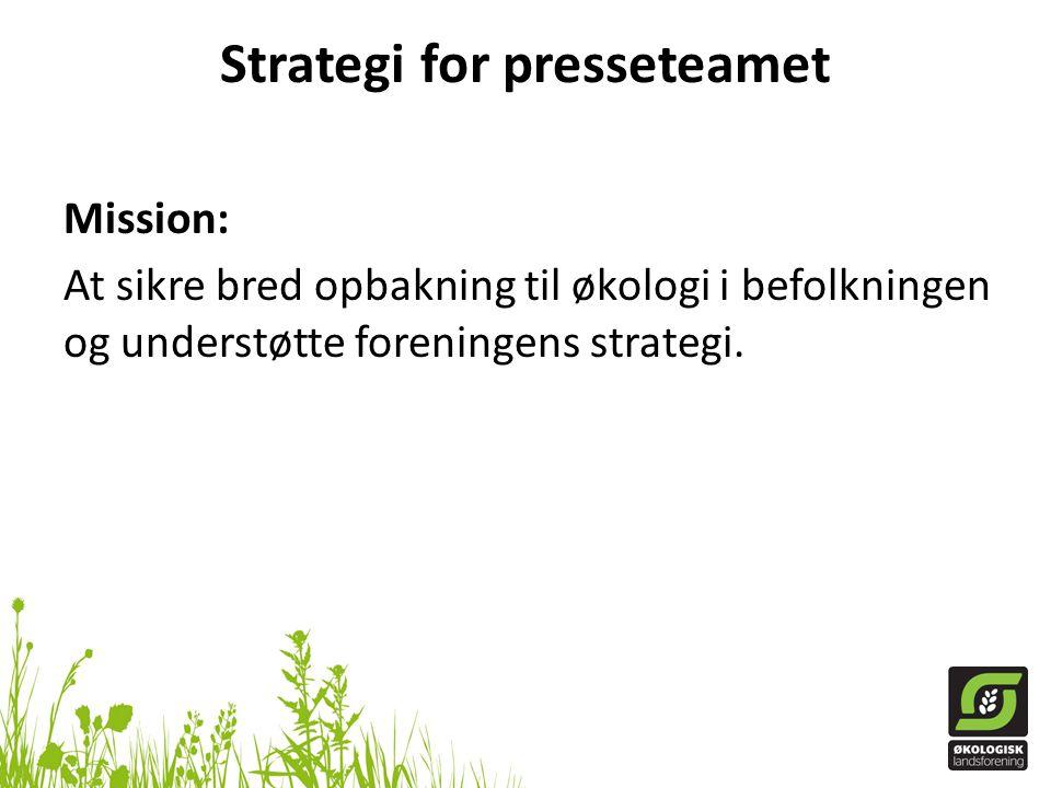 Strategi for presseteamet Mission: At sikre bred opbakning til økologi i befolkningen og understøtte foreningens strategi.