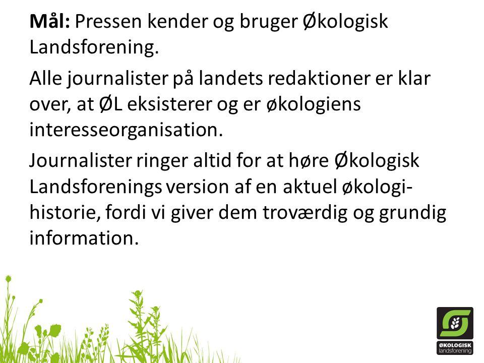 Mål: Pressen kender og bruger Økologisk Landsforening.
