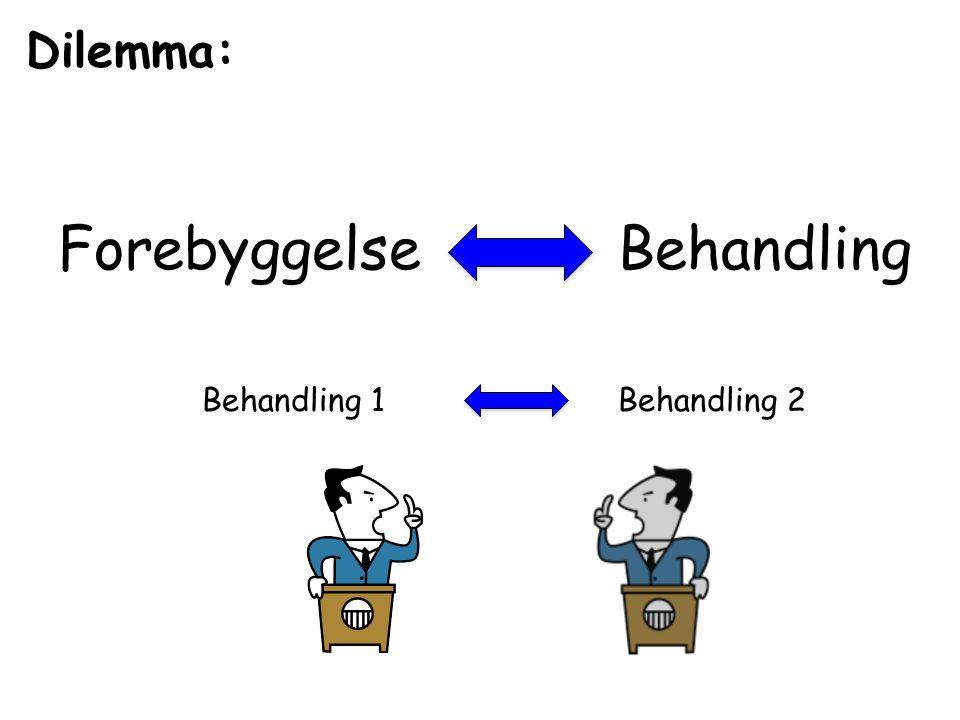 Dilemma: ForebyggelseBehandling Behandling 1Behandling 2