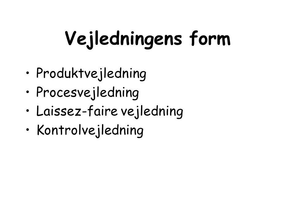 Vejledningens form Produktvejledning Procesvejledning Laissez-faire vejledning Kontrolvejledning