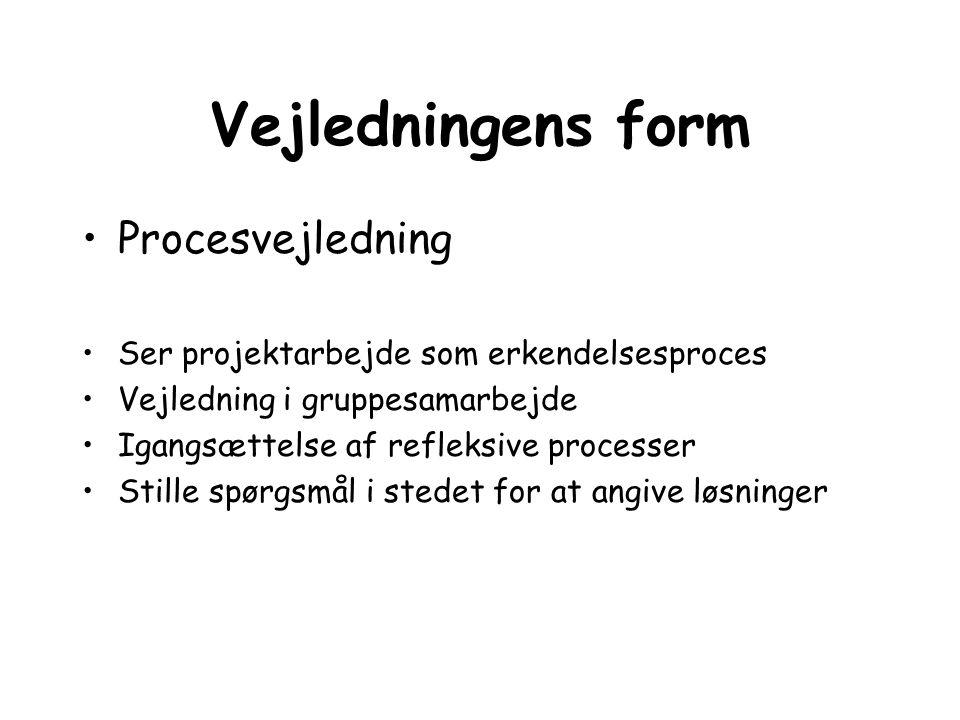 Vejledningens form Procesvejledning Ser projektarbejde som erkendelsesproces Vejledning i gruppesamarbejde Igangsættelse af refleksive processer Still