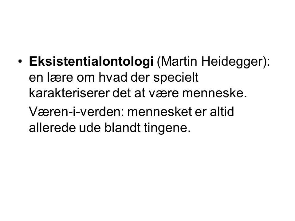 Eksistentialontologi (Martin Heidegger): en lære om hvad der specielt karakteriserer det at være menneske.