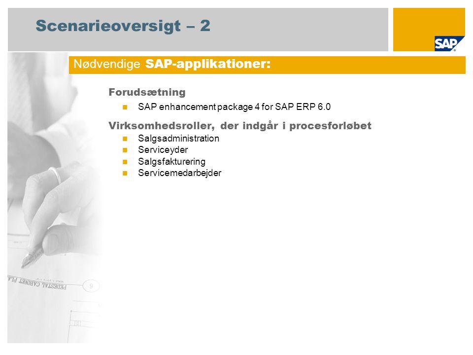 Scenarieoversigt – 2 Forudsætning SAP enhancement package 4 for SAP ERP 6.0 Virksomhedsroller, der indgår i procesforløbet Salgsadministration Serviceyder Salgsfakturering Servicemedarbejder Nødvendige SAP-applikationer: