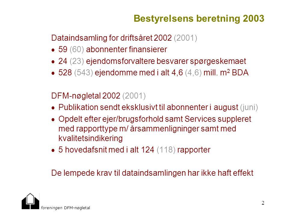 foreningen DFM-nøgletal 2 Bestyrelsens beretning 2003 Dataindsamling for driftsåret 2002 (2001)  59 (60) abonnenter finansierer  24 (23) ejendomsforvaltere besvarer spørgeskemaet  528 (543) ejendomme med i alt 4,6 (4,6) mill.