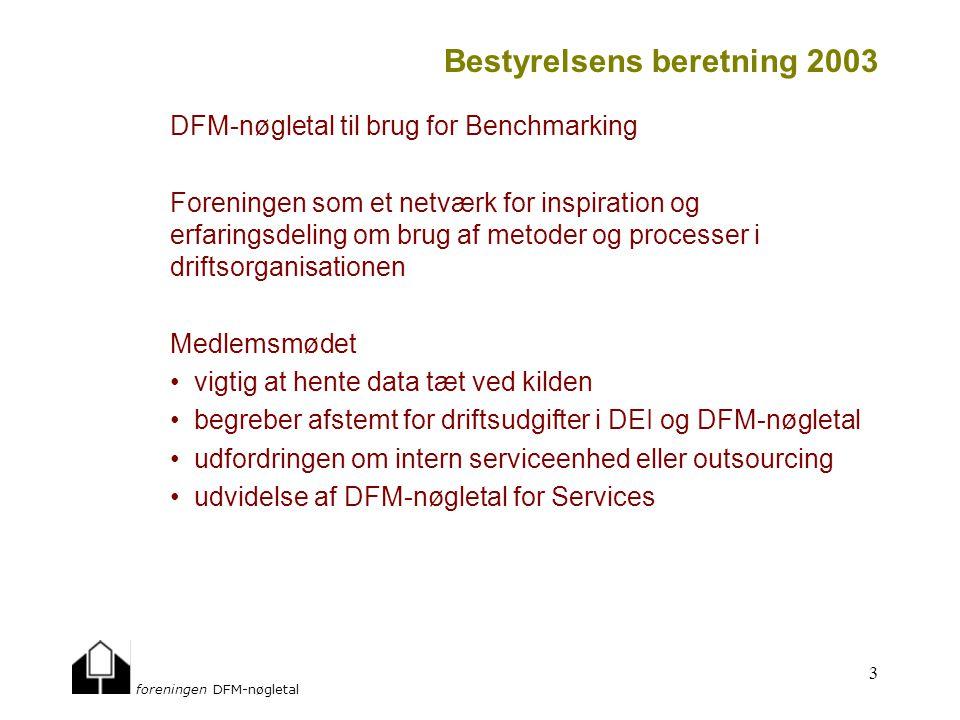 foreningen DFM-nøgletal 3 Bestyrelsens beretning 2003 DFM-nøgletal til brug for Benchmarking Foreningen som et netværk for inspiration og erfaringsdeling om brug af metoder og processer i driftsorganisationen Medlemsmødet vigtig at hente data tæt ved kilden begreber afstemt for driftsudgifter i DEI og DFM-nøgletal udfordringen om intern serviceenhed eller outsourcing udvidelse af DFM-nøgletal for Services
