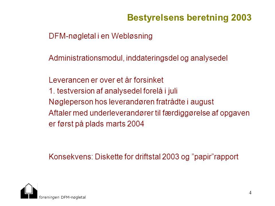 foreningen DFM-nøgletal 4 Bestyrelsens beretning 2003 DFM-nøgletal i en Webløsning Administrationsmodul, inddateringsdel og analysedel Leverancen er over et år forsinket 1.