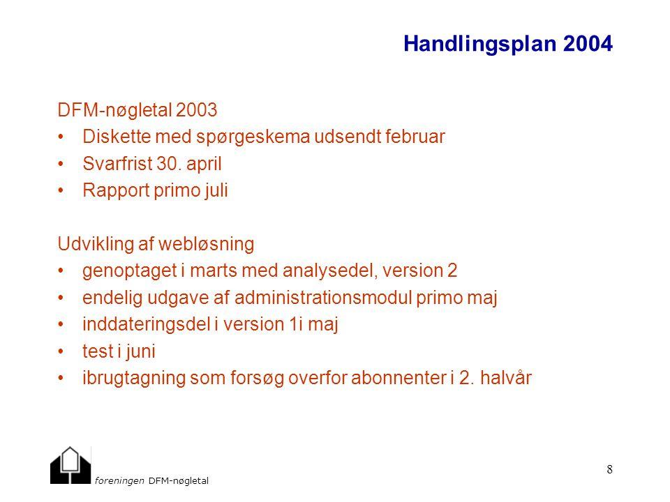 foreningen DFM-nøgletal 8 Handlingsplan 2004 DFM-nøgletal 2003 Diskette med spørgeskema udsendt februar Svarfrist 30.
