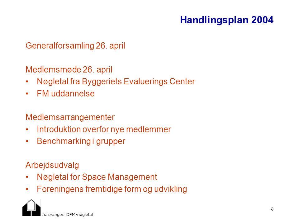 foreningen DFM-nøgletal 9 Handlingsplan 2004 Generalforsamling 26.