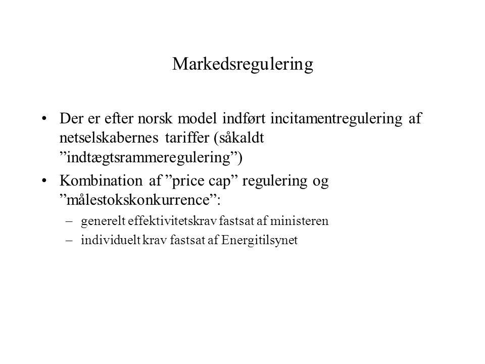Markedsregulering Der er efter norsk model indført incitamentregulering af netselskabernes tariffer (såkaldt indtægtsrammeregulering ) Kombination af price cap regulering og målestokskonkurrence : –generelt effektivitetskrav fastsat af ministeren –individuelt krav fastsat af Energitilsynet