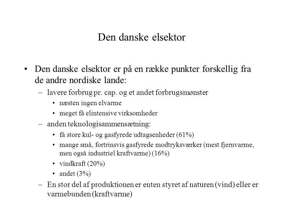 Den danske elsektor Den danske elsektor er på en række punkter forskellig fra de andre nordiske lande: –lavere forbrug pr.