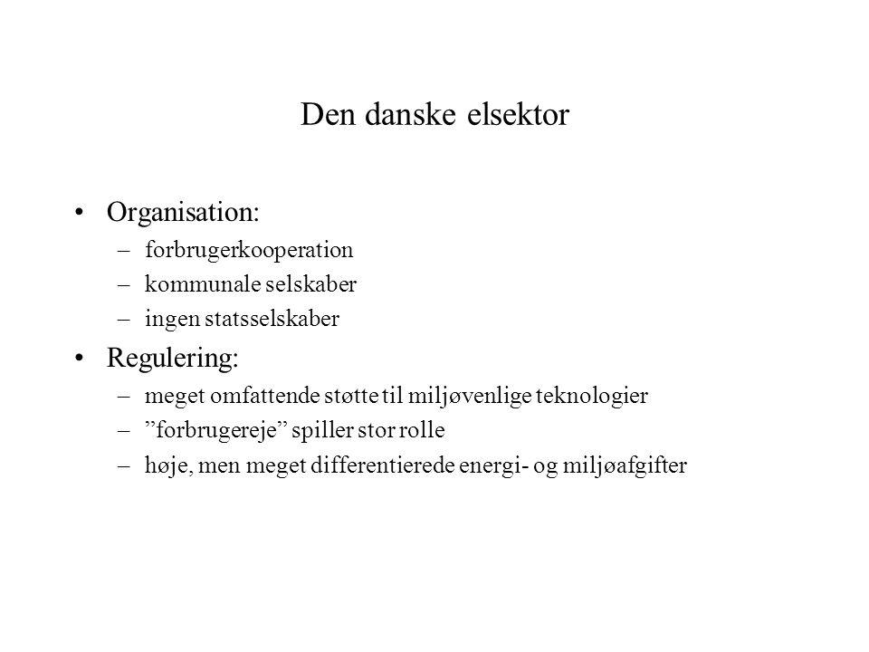 Den danske elsektor Organisation: –forbrugerkooperation –kommunale selskaber –ingen statsselskaber Regulering: –meget omfattende støtte til miljøvenlige teknologier – forbrugereje spiller stor rolle –høje, men meget differentierede energi- og miljøafgifter