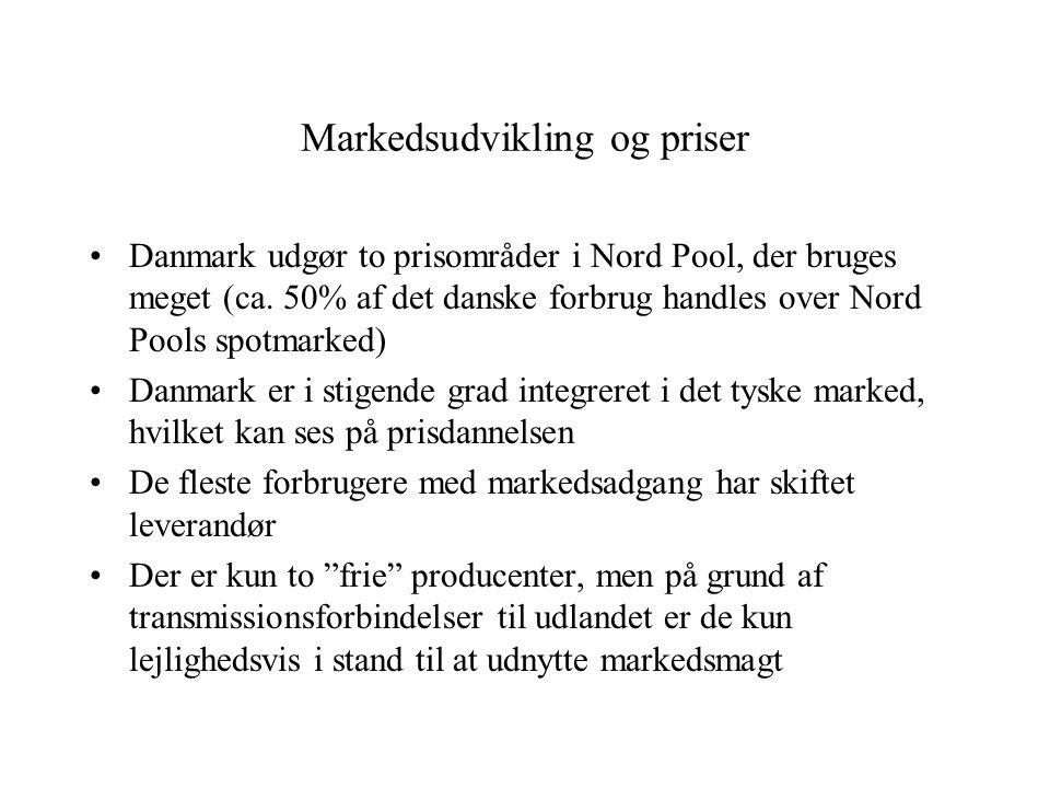Markedsudvikling og priser Danmark udgør to prisområder i Nord Pool, der bruges meget (ca.