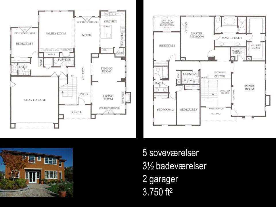5 soveværelser 3½ badeværelser 2 garager 3.750 ft 2