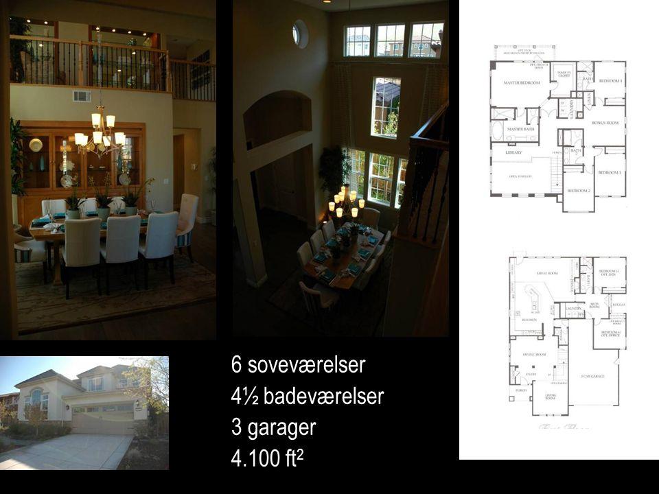 6 soveværelser 4½ badeværelser 3 garager 4.100 ft 2