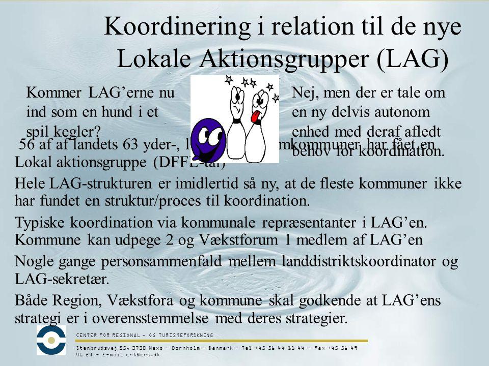CENTER FOR REGIONAL - OG TURISMEFORSKNING Stenbrudsvej 55, 3730 Nexø - Bornholm - Danmark - Tel +45 56 44 11 44 - Fax +45 56 49 46 24 - E-mail crt@crt.dk Koordinering i relation til de nye Lokale Aktionsgrupper (LAG) 56 af af landets 63 yder-, land- og mellemkommuner har fået en Lokal aktionsgruppe (DFFE-tal) Hele LAG-strukturen er imidlertid så ny, at de fleste kommuner ikke har fundet en struktur/proces til koordination.