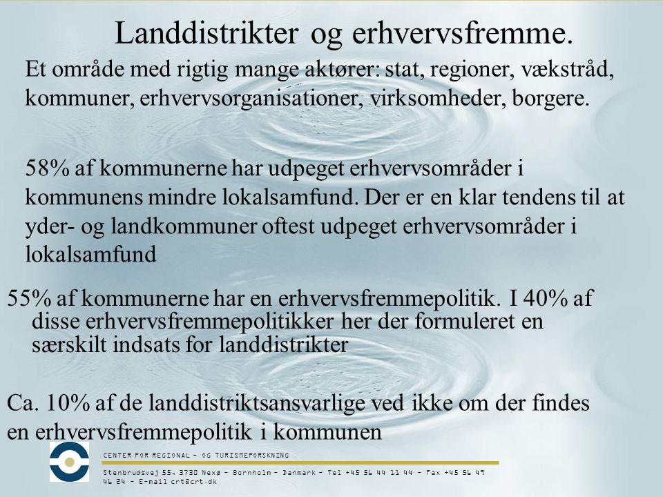 CENTER FOR REGIONAL - OG TURISMEFORSKNING Stenbrudsvej 55, 3730 Nexø - Bornholm - Danmark - Tel +45 56 44 11 44 - Fax +45 56 49 46 24 - E-mail crt@crt.dk Landdistrikter og erhvervsfremme.