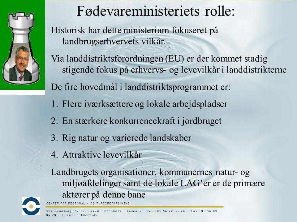 CENTER FOR REGIONAL - OG TURISMEFORSKNING Stenbrudsvej 55, 3730 Nexø - Bornholm - Danmark - Tel +45 56 44 11 44 - Fax +45 56 49 46 24 - E-mail crt@crt.dk Fødevareministeriets rolle: Historisk har dette ministerium fokuseret på landbrugserhvervets vilkår.