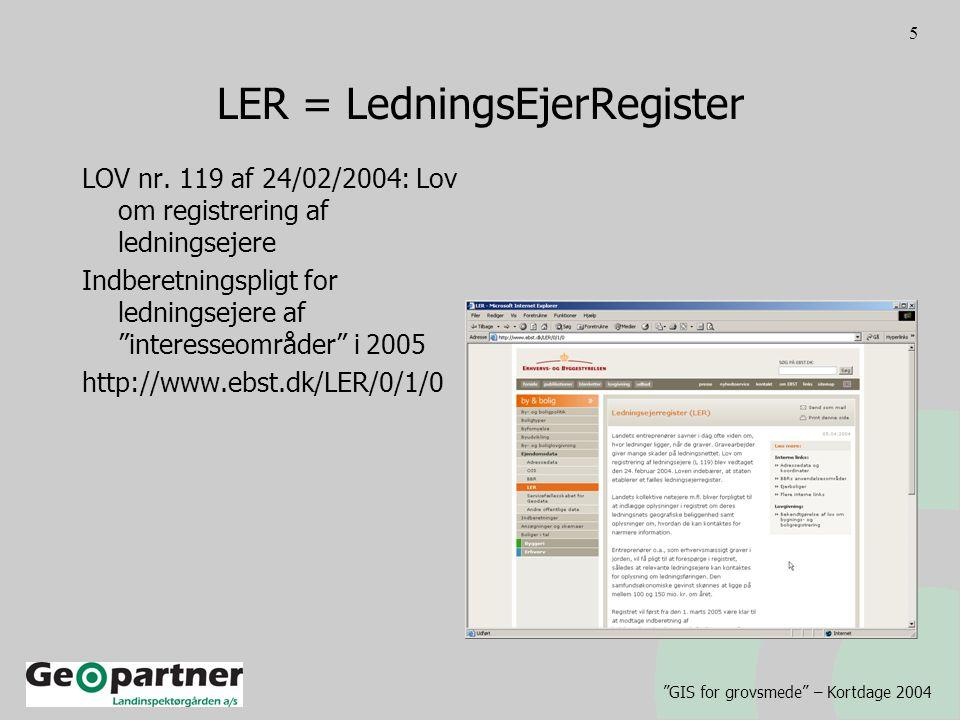 GIS for grovsmede – Kortdage 2004 5 LER = LedningsEjerRegister LOV nr.