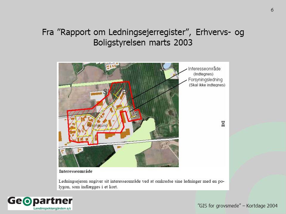 GIS for grovsmede – Kortdage 2004 6 Fra Rapport om Ledningsejerregister , Erhvervs- og Boligstyrelsen marts 2003