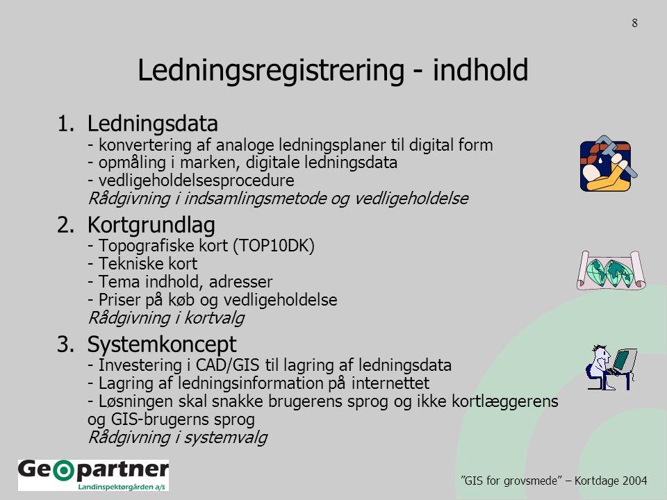 GIS for grovsmede – Kortdage 2004 8 Ledningsregistrering - indhold 1.Ledningsdata - konvertering af analoge ledningsplaner til digital form - opmåling i marken, digitale ledningsdata - vedligeholdelsesprocedure Rådgivning i indsamlingsmetode og vedligeholdelse 2.Kortgrundlag - Topografiske kort (TOP10DK) - Tekniske kort - Tema indhold, adresser - Priser på køb og vedligeholdelse Rådgivning i kortvalg 3.Systemkoncept - Investering i CAD/GIS til lagring af ledningsdata - Lagring af ledningsinformation på internettet - Løsningen skal snakke brugerens sprog og ikke kortlæggerens og GIS-brugerns sprog Rådgivning i systemvalg
