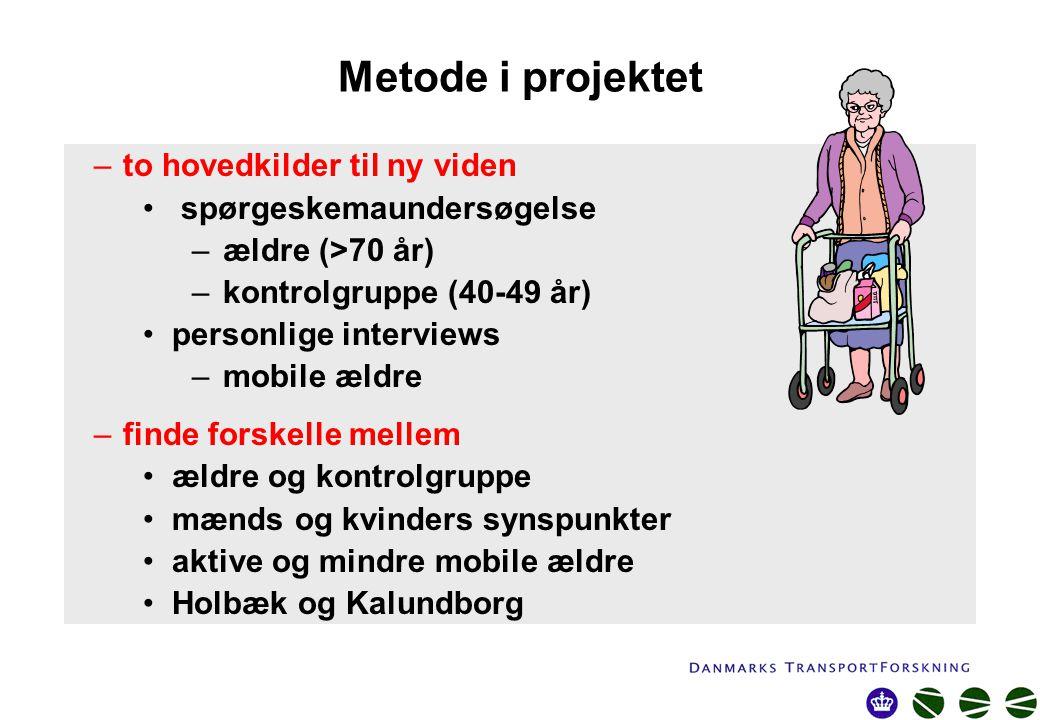 Metode i projektet –to hovedkilder til ny viden spørgeskemaundersøgelse –ældre (>70 år) –kontrolgruppe (40-49 år) personlige interviews –mobile ældre –finde forskelle mellem ældre og kontrolgruppe mænds og kvinders synspunkter aktive og mindre mobile ældre Holbæk og Kalundborg