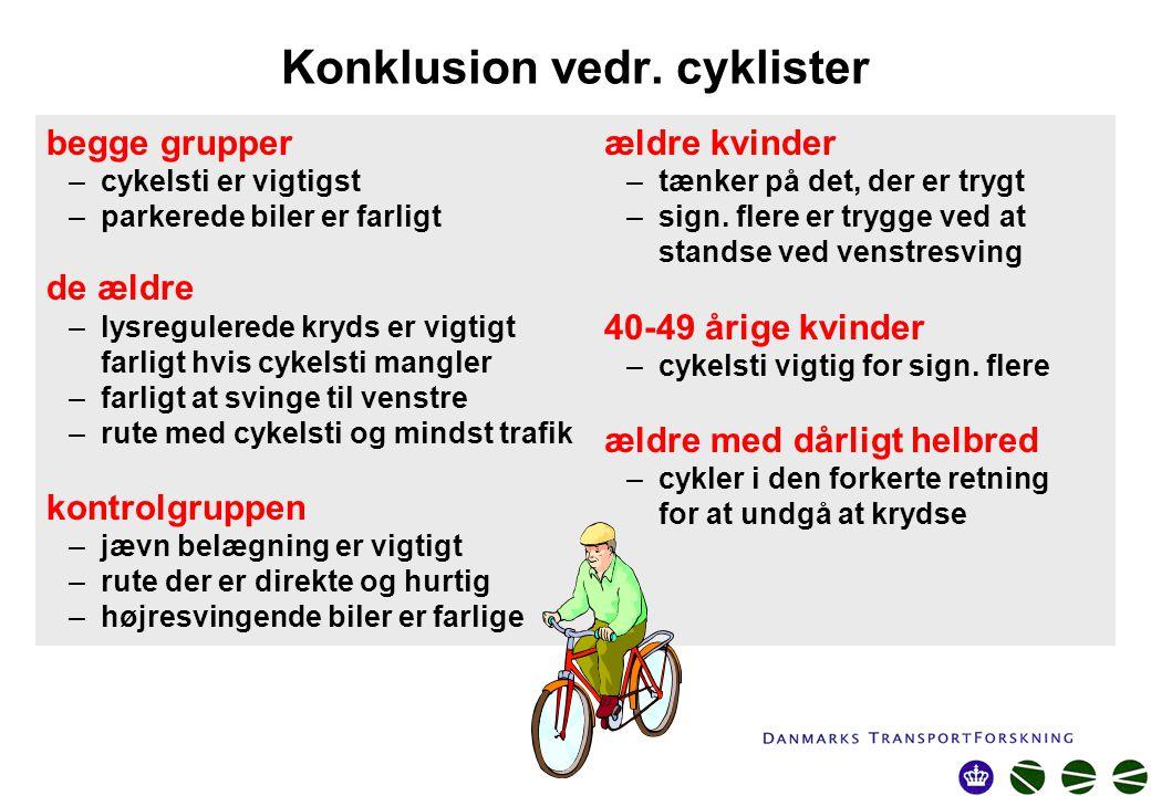 Konklusion vedr. cyklister ældre kvinder –tænker på det, der er trygt –sign.