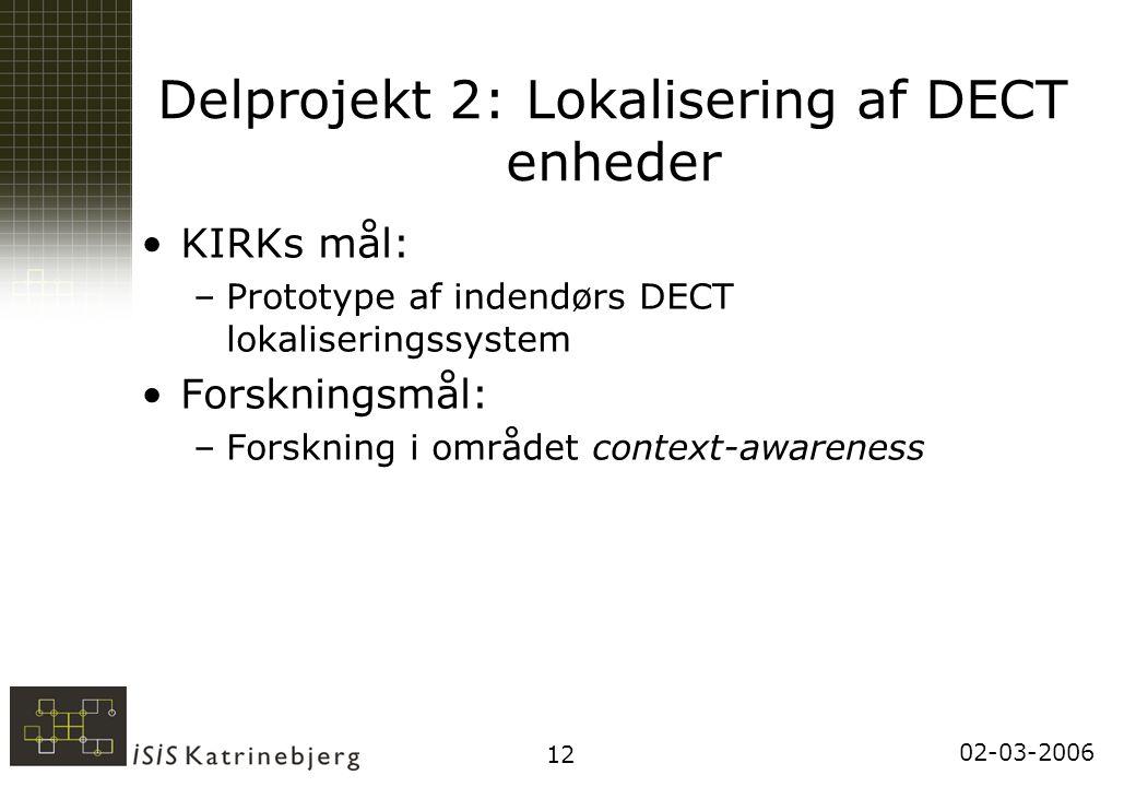 02-03-2006 12 Delprojekt 2: Lokalisering af DECT enheder KIRKs mål: –Prototype af indendørs DECT lokaliseringssystem Forskningsmål: –Forskning i området context-awareness