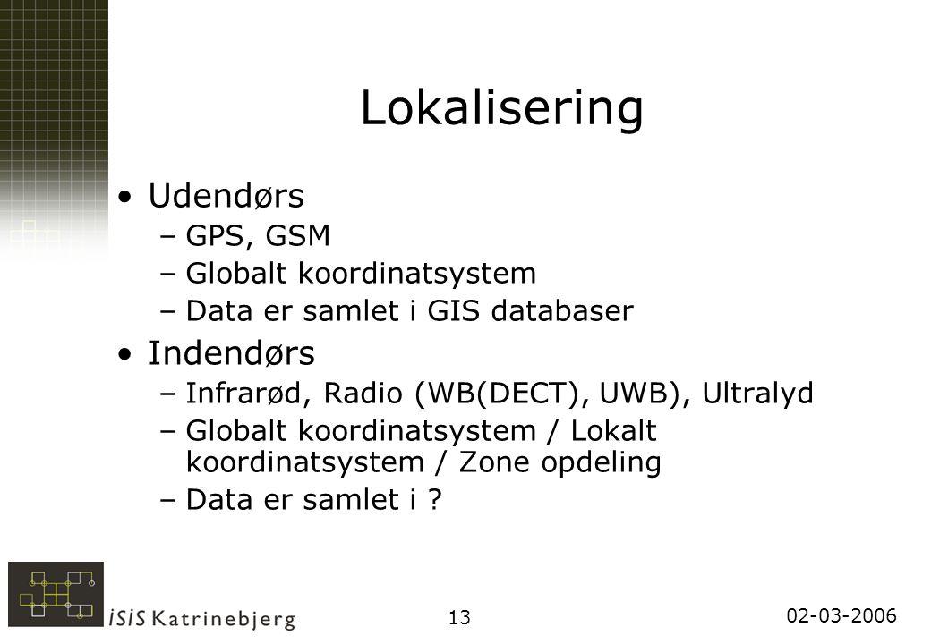 02-03-2006 13 Lokalisering Udendørs –GPS, GSM –Globalt koordinatsystem –Data er samlet i GIS databaser Indendørs –Infrarød, Radio (WB(DECT), UWB), Ultralyd –Globalt koordinatsystem / Lokalt koordinatsystem / Zone opdeling –Data er samlet i