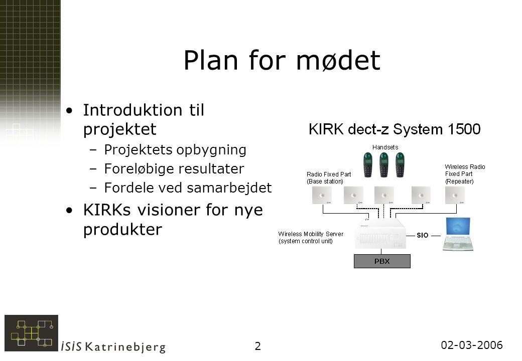 02-03-2006 2 Plan for mødet Introduktion til projektet –Projektets opbygning –Foreløbige resultater –Fordele ved samarbejdet KIRKs visioner for nye produkter