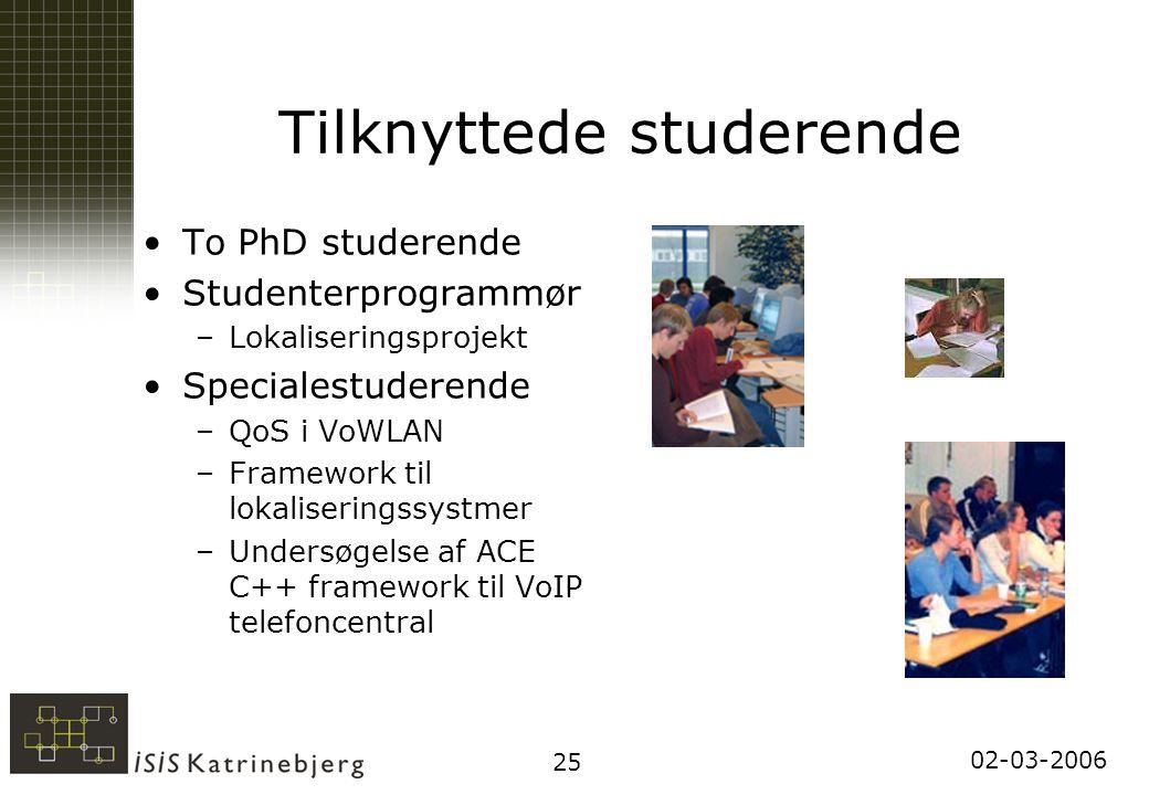 02-03-2006 25 Tilknyttede studerende To PhD studerende Studenterprogrammør –Lokaliseringsprojekt Specialestuderende –QoS i VoWLAN –Framework til lokaliseringssystmer –Undersøgelse af ACE C++ framework til VoIP telefoncentral