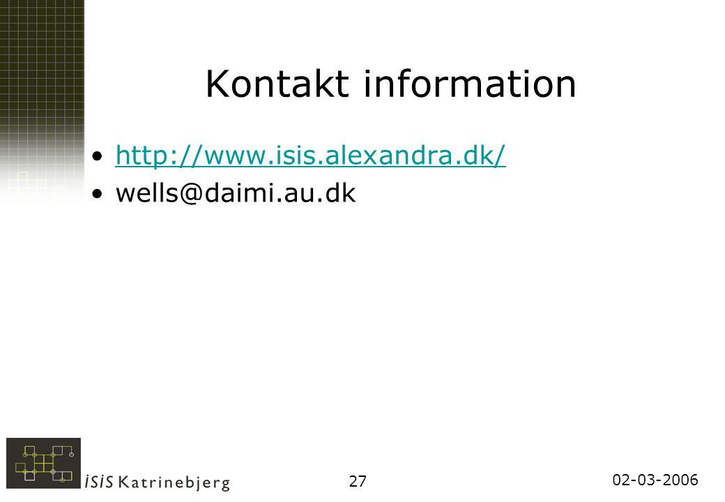 02-03-2006 27 Kontakt information http://www.isis.alexandra.dk/ wells@daimi.au.dk