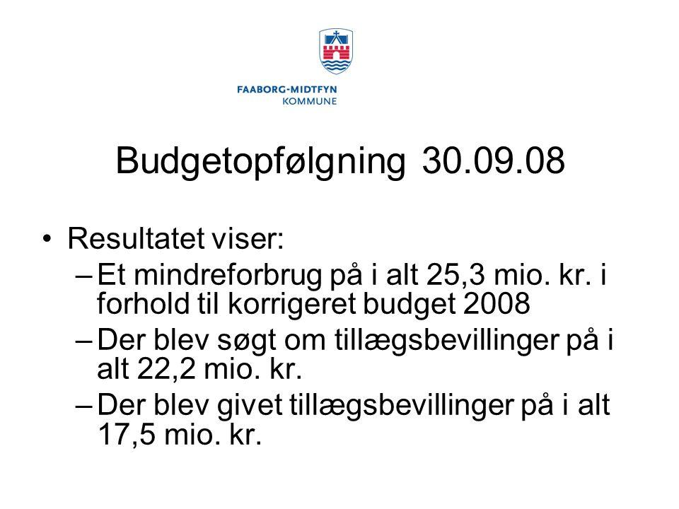 Budgetopfølgning 30.09.08 Resultatet viser: –Et mindreforbrug på i alt 25,3 mio.