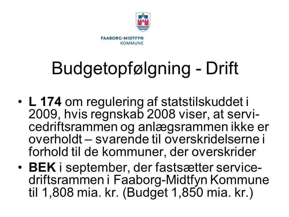 Budgetopfølgning - Drift L 174 om regulering af statstilskuddet i 2009, hvis regnskab 2008 viser, at servi- cedriftsrammen og anlægsrammen ikke er overholdt – svarende til overskridelserne i forhold til de kommuner, der overskrider BEK i september, der fastsætter service- driftsrammen i Faaborg-Midtfyn Kommune til 1,808 mia.