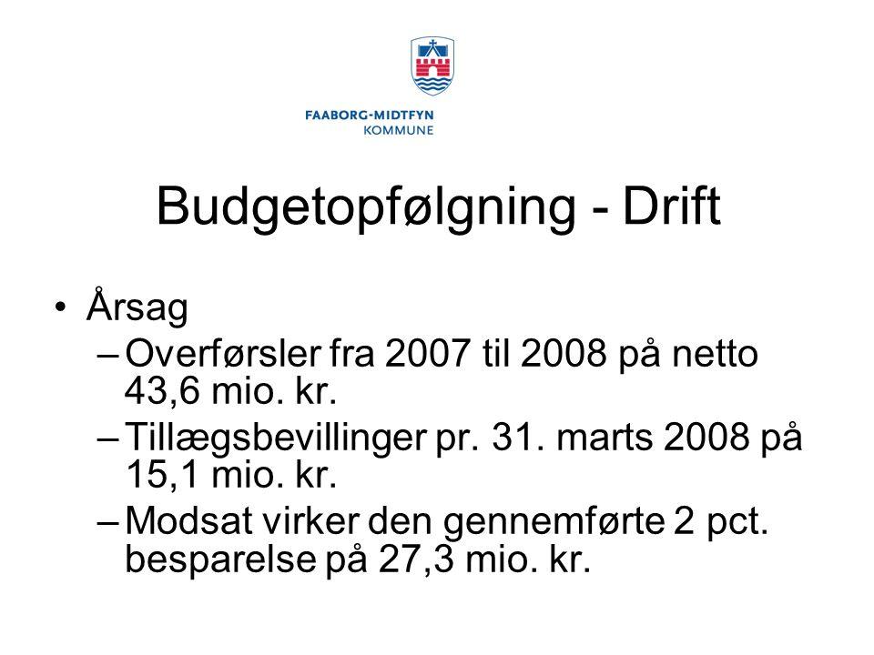 Budgetopfølgning - Drift Årsag –Overførsler fra 2007 til 2008 på netto 43,6 mio.