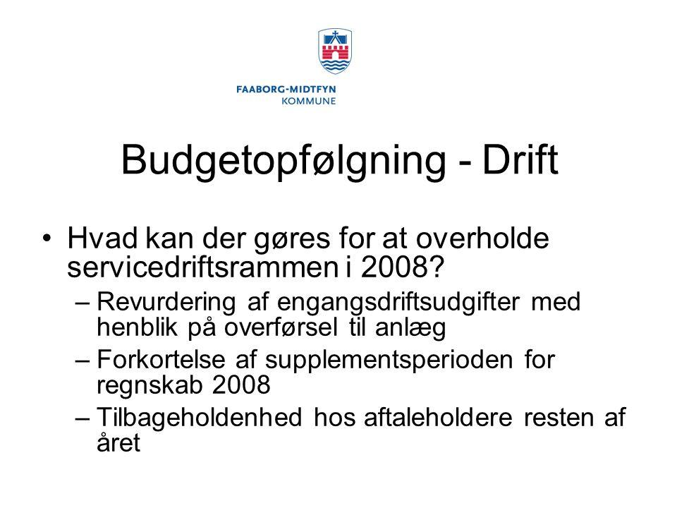 Budgetopfølgning - Drift Hvad kan der gøres for at overholde servicedriftsrammen i 2008.