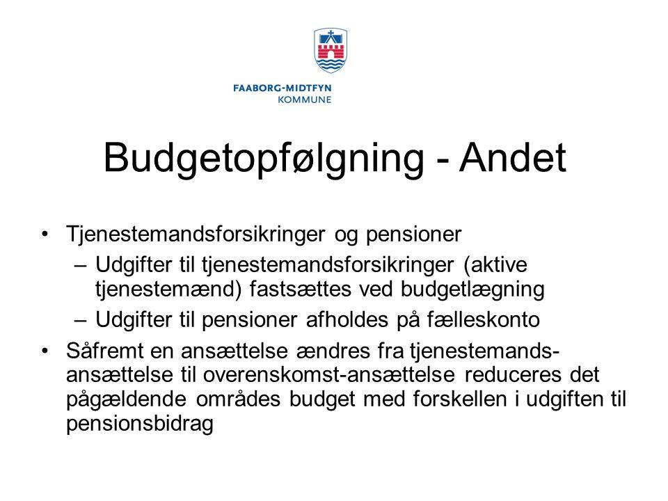 Budgetopfølgning - Andet Tjenestemandsforsikringer og pensioner –Udgifter til tjenestemandsforsikringer (aktive tjenestemænd) fastsættes ved budgetlægning –Udgifter til pensioner afholdes på fælleskonto Såfremt en ansættelse ændres fra tjenestemands- ansættelse til overenskomst-ansættelse reduceres det pågældende områdes budget med forskellen i udgiften til pensionsbidrag