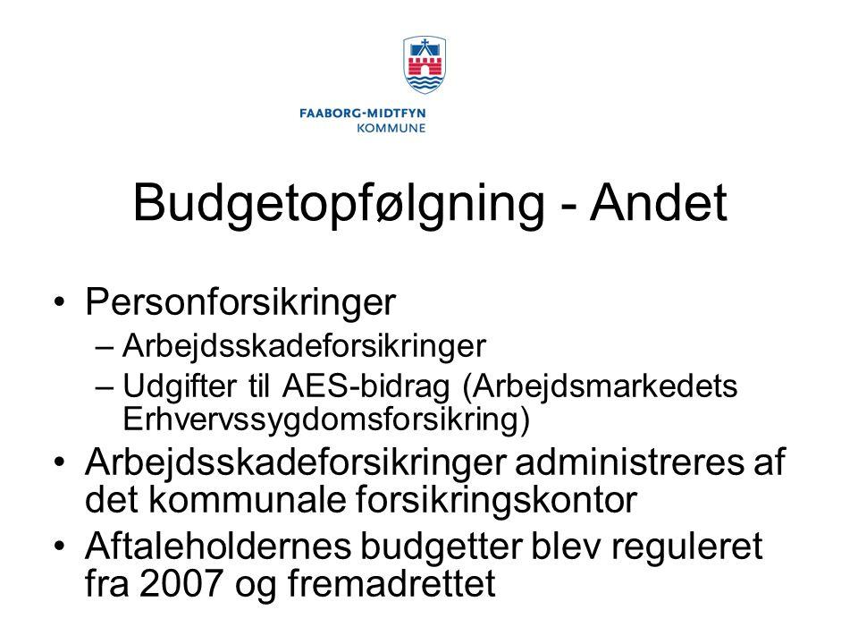 Budgetopfølgning - Andet Personforsikringer –Arbejdsskadeforsikringer –Udgifter til AES-bidrag (Arbejdsmarkedets Erhvervssygdomsforsikring) Arbejdsskadeforsikringer administreres af det kommunale forsikringskontor Aftaleholdernes budgetter blev reguleret fra 2007 og fremadrettet