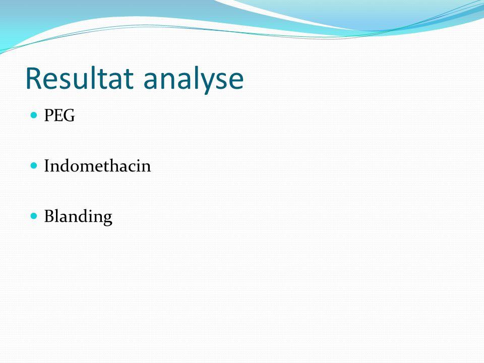 Resultat analyse PEG Indomethacin Blanding