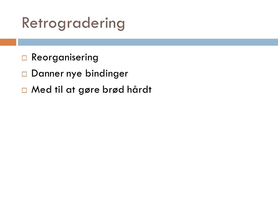 Retrogradering  Reorganisering  Danner nye bindinger  Med til at gøre brød hårdt