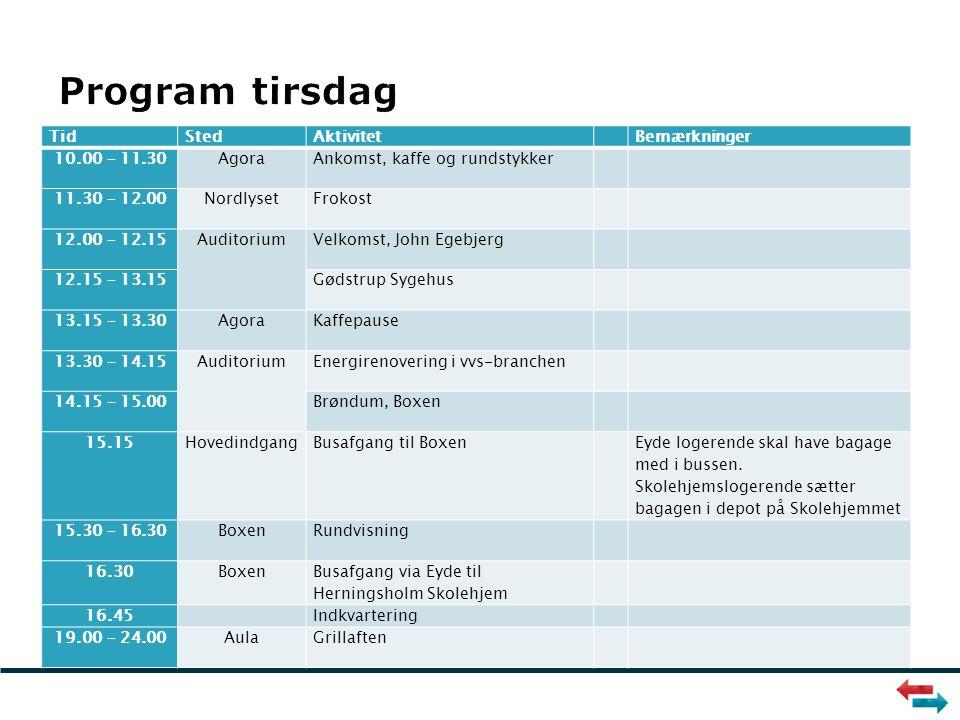 TidStedAktivitet Bemærkninger 10.00 – 11.30AgoraAnkomst, kaffe og rundstykker 11.30 – 12.00NordlysetFrokost 12.00 – 12.15AuditoriumVelkomst, John Egebjerg 12.15 – 13.15Gødstrup Sygehus 13.15 – 13.30AgoraKaffepause 13.30 – 14.15AuditoriumEnergirenovering i vvs-branchen 14.15 – 15.00Brøndum, Boxen 15.15HovedindgangBusafgang til Boxen Eyde logerende skal have bagage med i bussen.