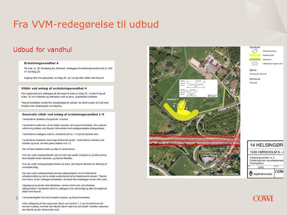 27 AUGUST 2014 FRA VVM-REDEGØRELSE TIL UDBUD 6 Udbud for vandhul Fra VVM-redegørelse til udbud