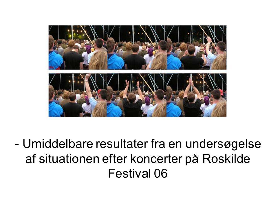 - Umiddelbare resultater fra en undersøgelse af situationen efter koncerter på Roskilde Festival 06