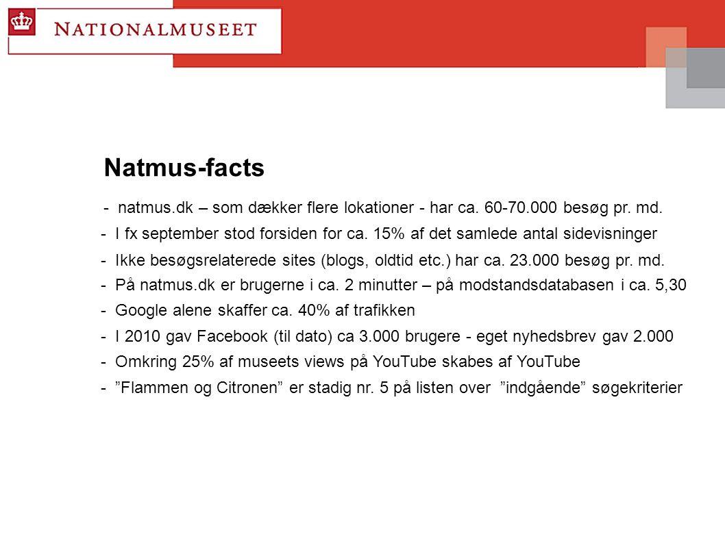 Natmus-facts - natmus.dk – som dækker flere lokationer - har ca.