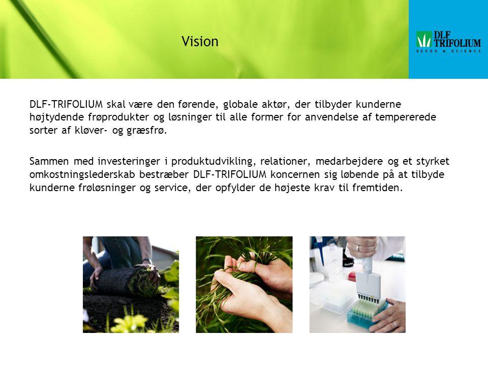 Vision DLF-TRIFOLIUM skal være den førende, globale aktør, der tilbyder kunderne højtydende frøprodukter og løsninger til alle former for anvendelse af tempererede sorter af kløver- og græsfrø.